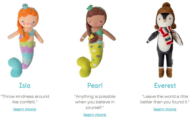 cuddle + kind hand knit dolls fighting childhood hunger worldwide Isla pearl mermaid Everest penguin