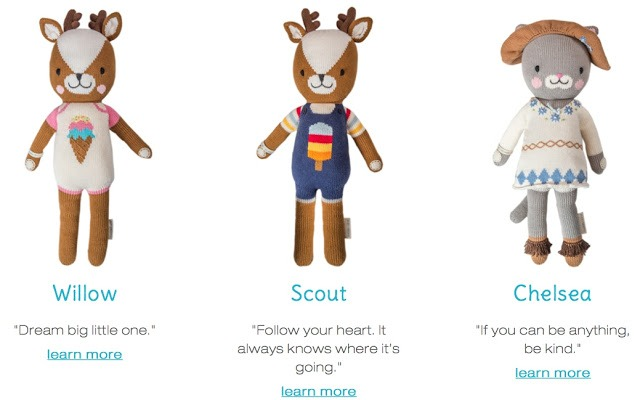 cuddle + kind hand knit dolls fighting childhood hunger worldwide willow scout deer Chelsea cat