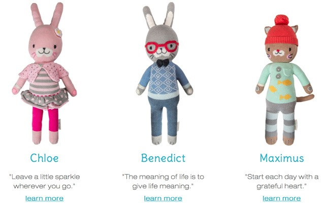 cuddle + kind hand knit dolls fighting childhood hunger worldwide Chloe bunny Benedict bunny Maximus cat