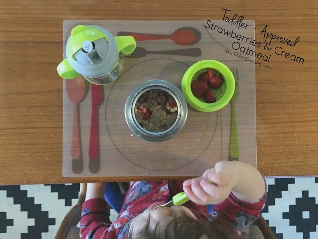 toddler approved strawberries and cream oatmeal recipe
