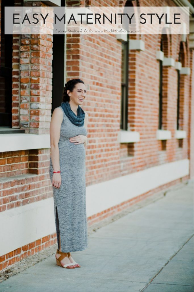 easy summer maternity style grey maxi