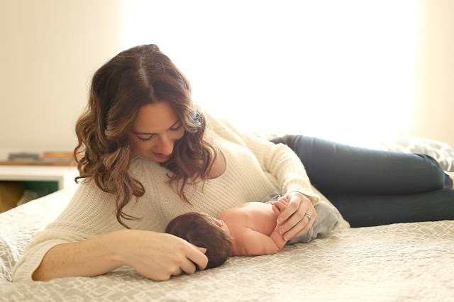 mother child son Fresh 48 Family Newborn Lifestyle Photoshoot