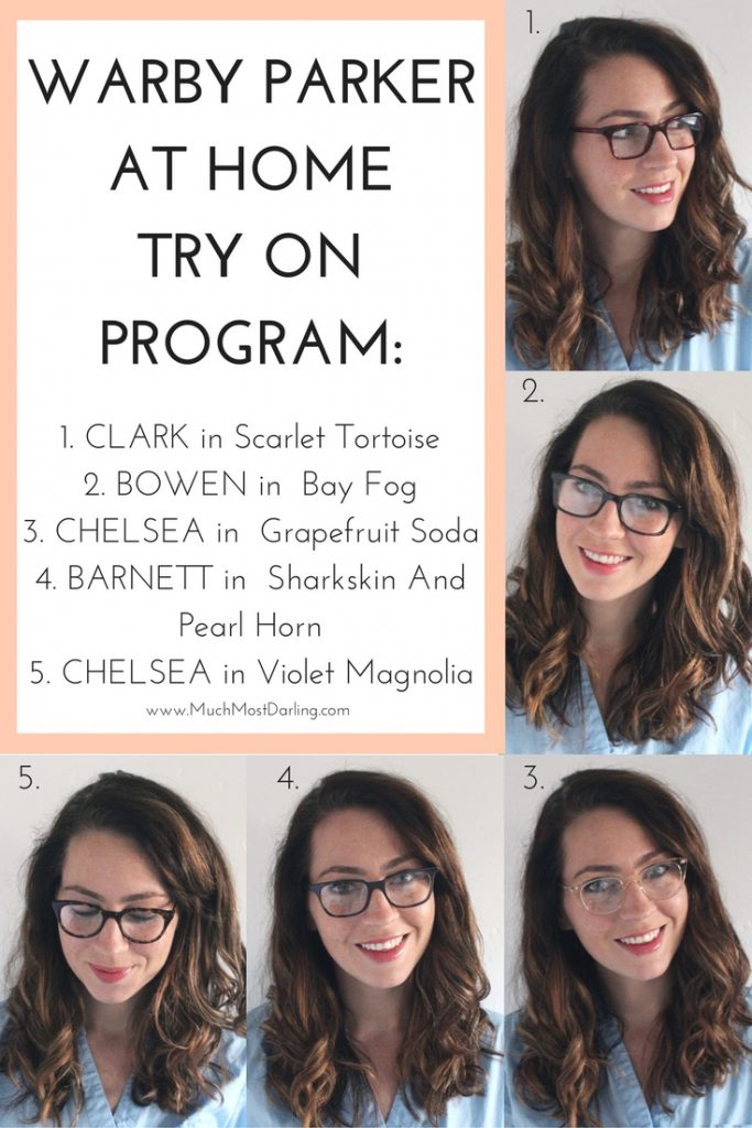 warby parker home-try-on-program-clark-scarlet-tortoise-bowen-in-bay-fog-chelsea-in-grapefruit-soda-barnett-in-sharkskin-and-pearl-horn-chelsea-in-violet-magnolia