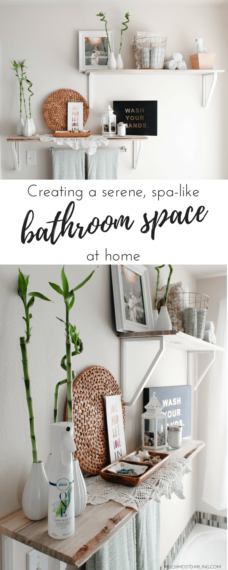so without further ado heres how i made our ensuite master full bathroom into a diy relaxing bathroom oasis on a budget with febreze one bamboo
