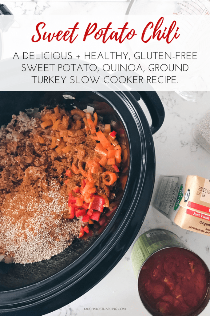 healthy dairy free gluten free sweet potato quinoa black pinto bean corn ground turkey chili slow cooker crock pot easy lunch dinner crock pot slow cooker recipe idea