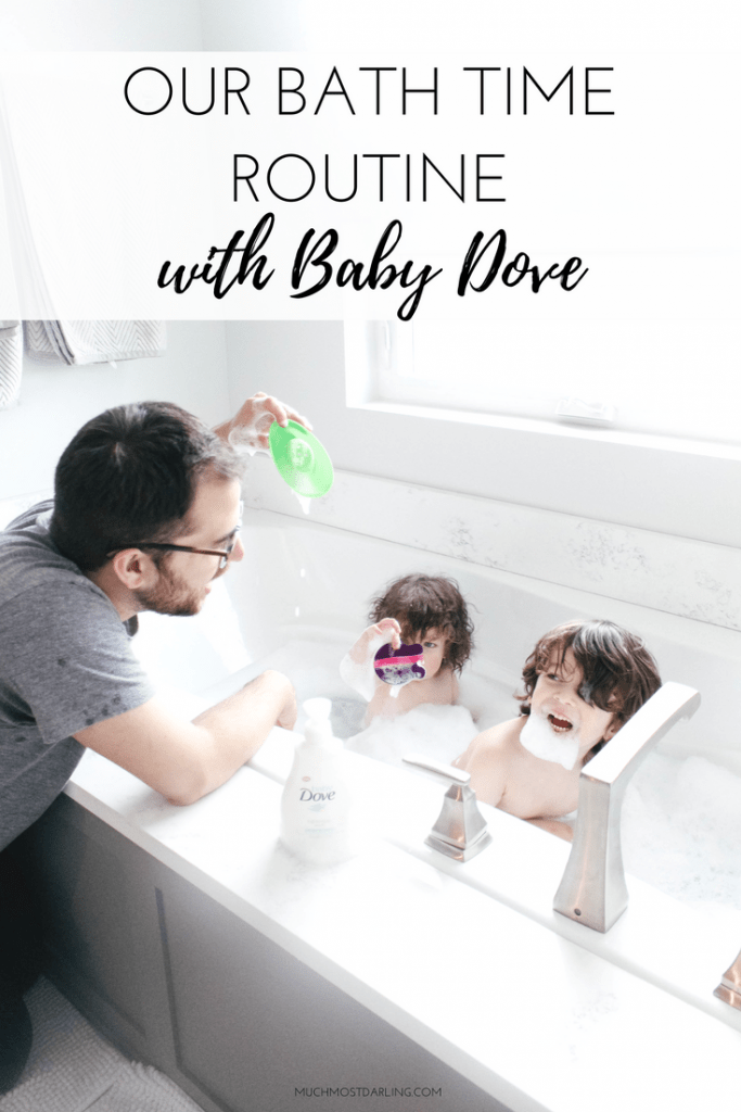 how to help dad bond with baby toddler kid. daily bathtime with baby dove. best bath wash for dry eczema skin
