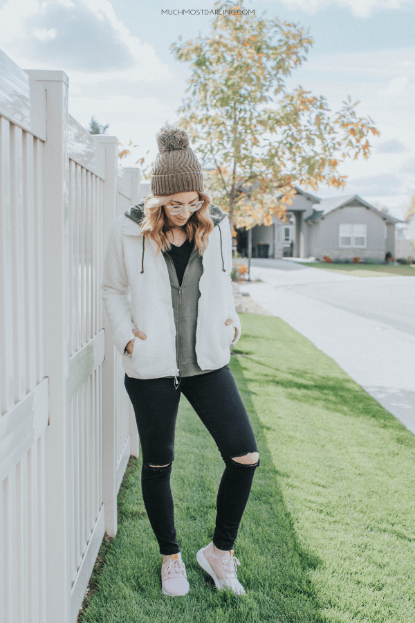 brilliant blush sneakers outfit boots