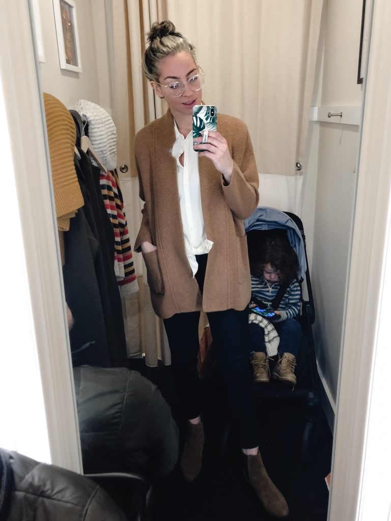 madewell camel SPENCER SWEATER-COAT