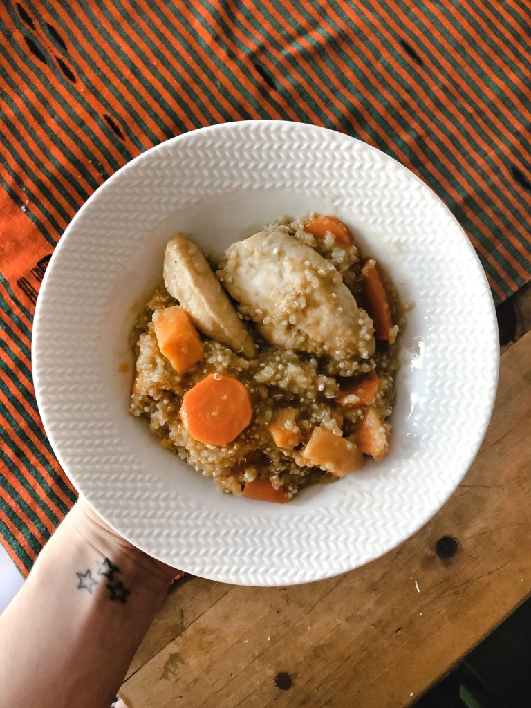 quick and easy gluten dairy free chicken butternut squash quinoa slow cooker dinner idea