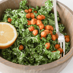 Vegan + Gluten Free Spicy Roasted Chickpea + Kale Caesar Salad Recipe