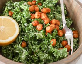 Vegan + Gluten Free Spicy Roasted Chickpea + Kale Caesar Salad Recipe