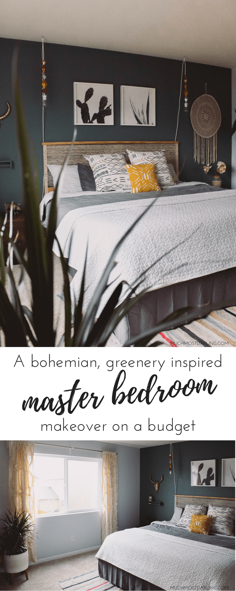 A bohemian inspired Fall master bedroom makeover, full of patterns, greenery and natural elements. All done on a budget!